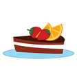 delicious cake on white background vector image vector image