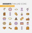 desserts and sweets food linear thin icons set vector image vector image