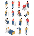 disabled people isometric icons vector image vector image