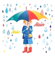 Drawing boy under an umbrella vector image