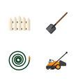 flat icon garden set of shovel wooden barrier vector image
