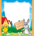 frame with easter bunny topic 7 vector image vector image