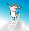 funny cow and milk splash vector image vector image