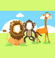 funny face in hole animals vector image vector image