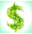 Green money symbol with transparency and lights vector image vector image