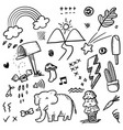 hand drawn set elements for concept design cute vector image