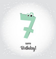 happy seventh birthday postcard pink number seven vector image vector image