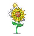 have an idea sunflower mascot cartoon style vector image