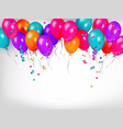 horizontal line border of shiny colorful balloons vector image