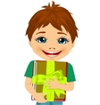 little boy hugging a stack of books vector image