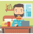 Man eating hamburger vector image vector image