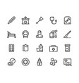 medical line icons healthcare and insurance vector image