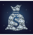 Money bag with dollar sign made a lot of diamonds vector image vector image
