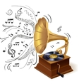 Music doodle gramophone vector image