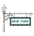 New York retro pointer lamppost vector image vector image