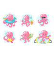 octopus cartoon style vector image vector image