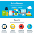 Online Education Flat Web Design Template vector image