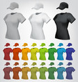 plain female t-shirt and cap template vector image vector image