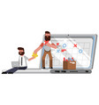 planning and organization helpers on laptop vector image vector image