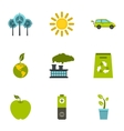 Purity of nature icons set flat style vector image vector image