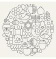 Rosh Hashanah Holiday Line Icons Set Circular vector image vector image