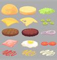 sandwich burger cheeseburger food ingredients vector image