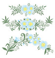 set elements from flowers and plants vector image vector image