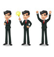set of businessman in black suit getting ideas vector image vector image