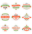 set of christmas sale vintage badges typographic vector image