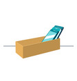 smartphones in cardboard box symbolizing digital vector image