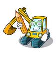 student excavator character cartoon style vector image vector image