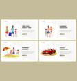 summer holidays website landing page flat set vector image vector image