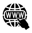 symbol of the internet globe and cursor vector image vector image