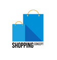 two blue paper shopping bags with place for text vector image vector image