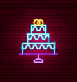 wedding cake neon sign vector image vector image