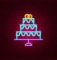 wedding cake neon sign vector image