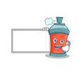 with board aerosol spray can character cartoon vector image vector image