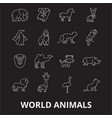 world animals editable line icons set on vector image vector image
