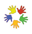 colorfull palms of the hands vector image