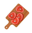 cutting board with pork bacon for restaurants vector image
