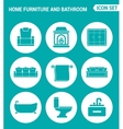 set of round icons white Home furniture and vector image