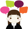 Cute Businesswoman with Colorful Blank Speech vector image