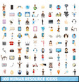 100 human resource icons set cartoon style vector image vector image