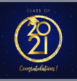 2021 happy graduations golden ball and glitter vector image vector image