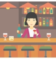 Bartender standing at the bar counter vector image vector image