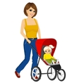 beautiful single mather pushing stroller vector image vector image