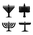 black silhouette of chanukiah set hanukkah vector image