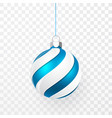 blue christmas ball xmas glass ball on vector image vector image
