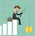 businessman sitting on the growing chart vector image