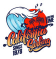 california surfing emblem template with waves vector image vector image